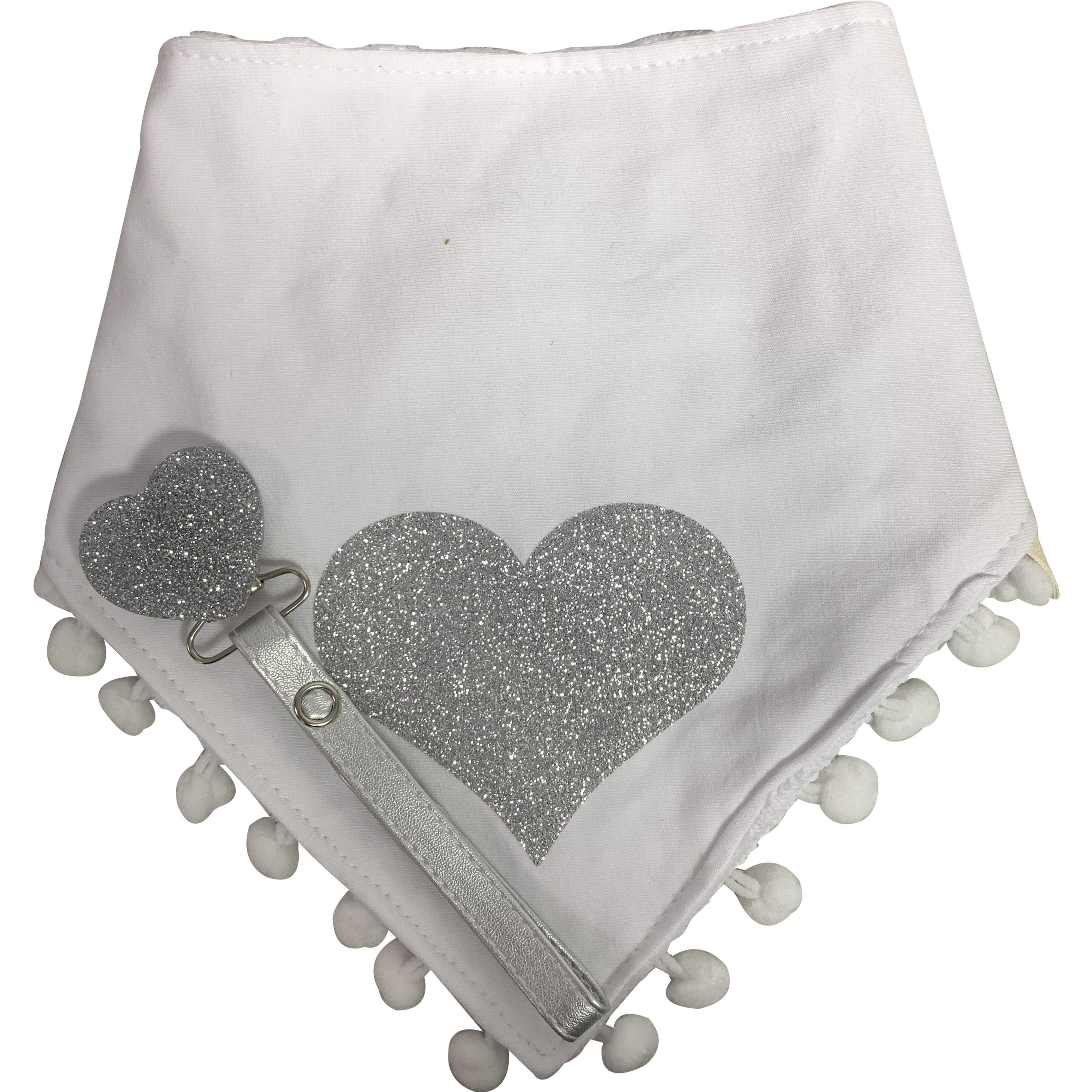 White with silver heart sparkle bib and clip GIFT SET