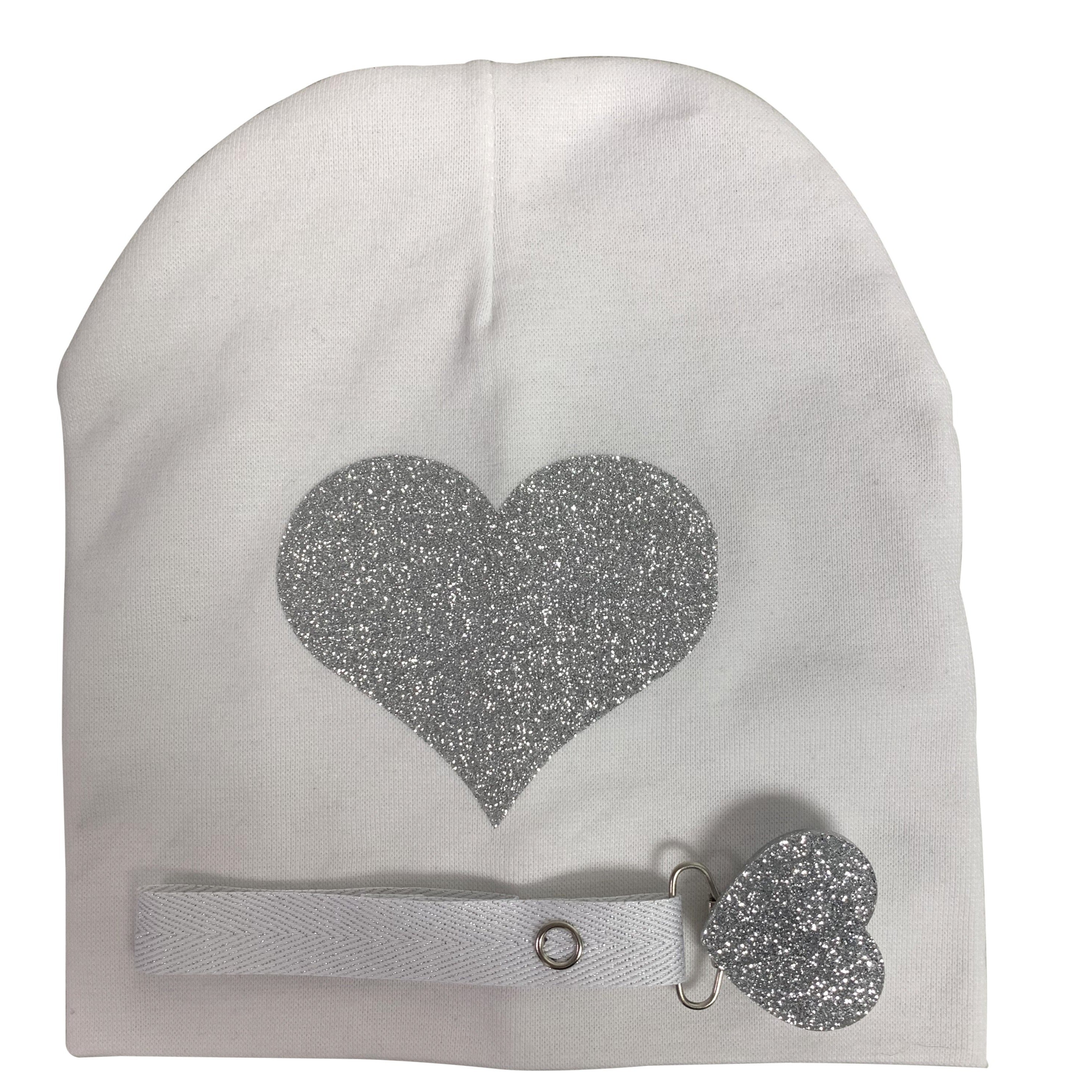 White with silver heart sparkle hat and clip GIFT SET