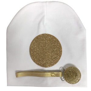 White with Gold circle sparkle hat and clip GIFT SET