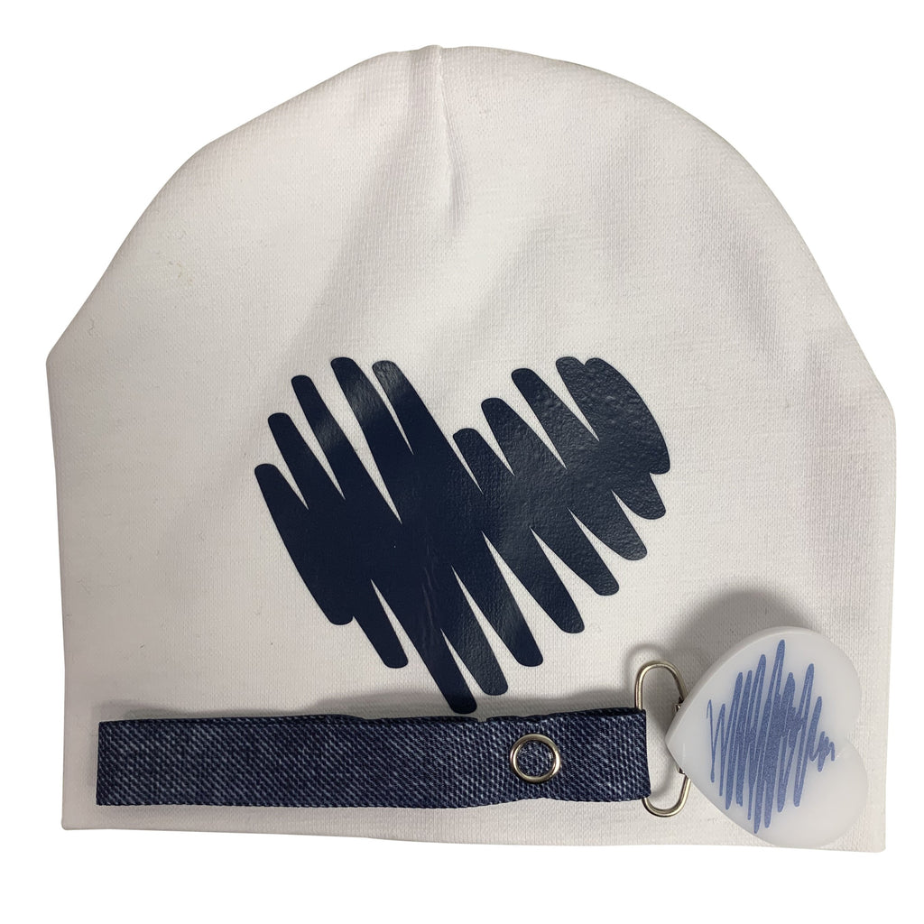White with navy Doodle heart hat and clip GIFT SET