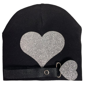 Black with silver sparkle hat and clip GIFT SET