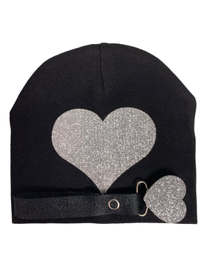 Black with silver sparkle heart bib, hat, pacifier clip DELUXE GIFT SET
