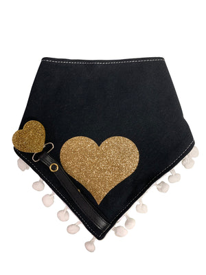 Black with Gold sparkle heart bib, hat, pacifier clip DELUXE GIFT SET
