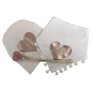 White SLEEK pink gold  heart bib or hat and clip GIFT SET