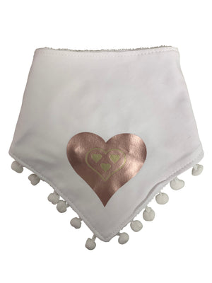White SLEEK pink gold heart bib and clip GIFT SET