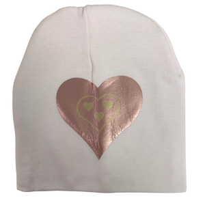 Copy of White SLEEK pink gold  heart bib or hat and clip GIFT SET