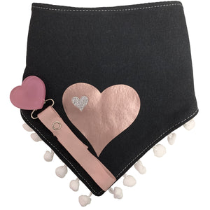 Black SLEEK  mauve pink  heart bib or hat and clip GIFT SET