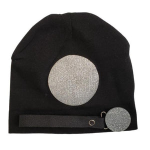 Black with silver circle sparkle hat and clip GIFT SET