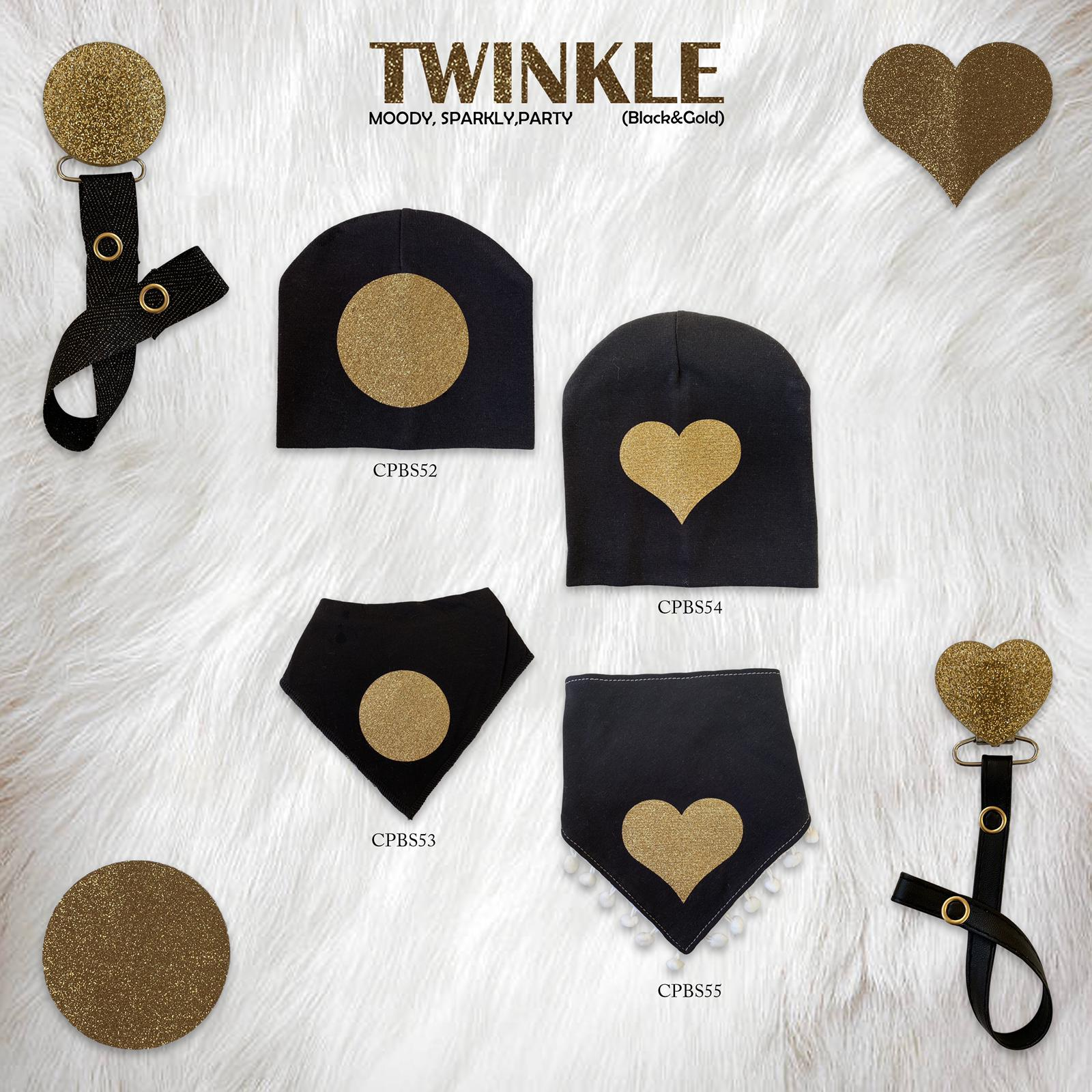Black with Gold circle sparkle bib and clip GIFT SET