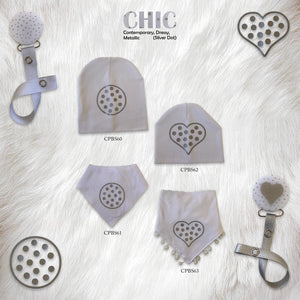 White CHIC with Silver dot circle bib and clip GIFT SET