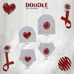 White with Red Doodle circle bib or hat and clip GIFT SET