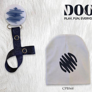 White with navy Doodle circle bib, hat, pacifier clip DELUXE GIFT SET