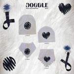 White with navy Doodle heart bib, hat pacifier clip DELUXE GIFT SET