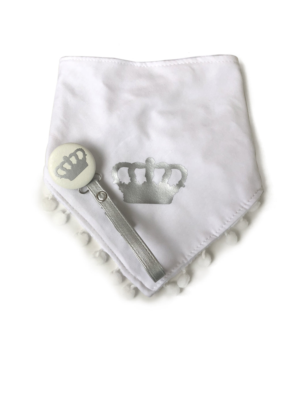 Silver Royal crown. white Bib & leather Pacifier Clip Gift Set