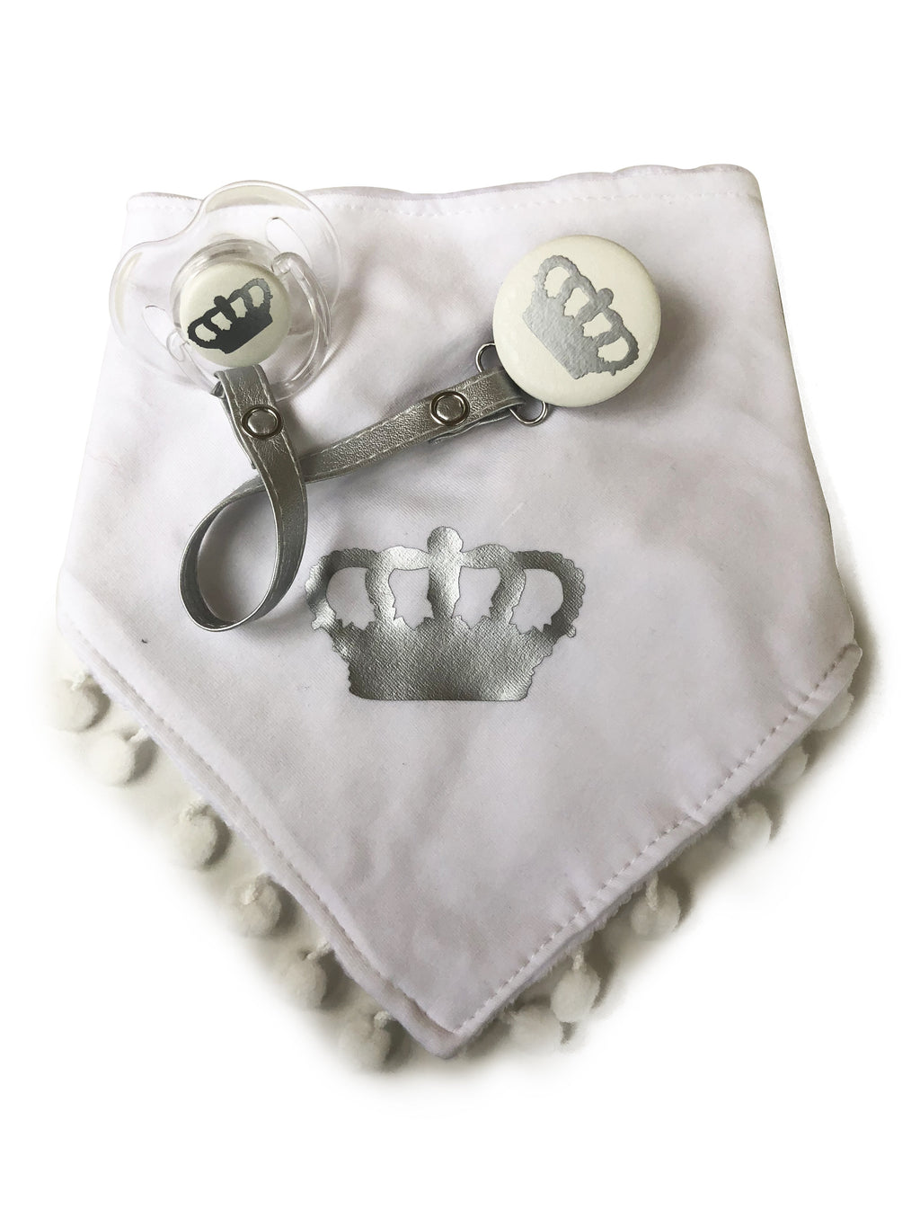 Silver Royal crown, white Bib & Pacifier Clip Plus Matching Pacifier Gift Set boy