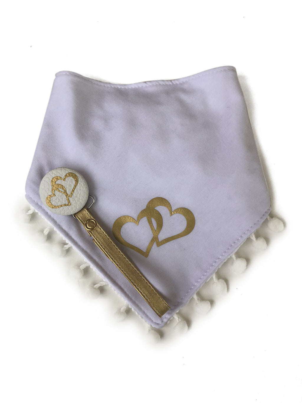 White Double Love gold heart Bib & Pacifier Clip Gift Set girl