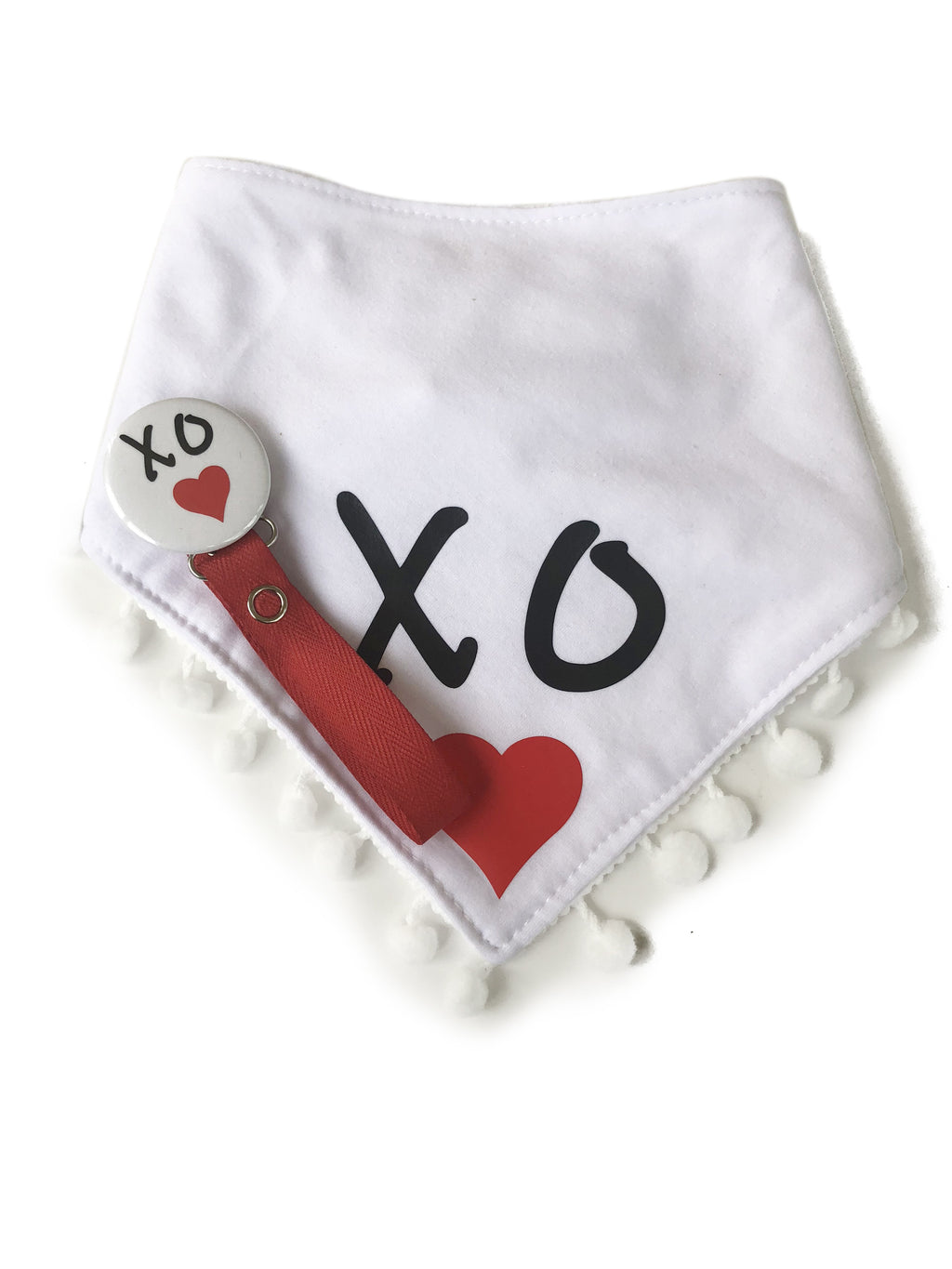 XO♥ Love red heart black, white Bib & Matching Pacifier Clip Gift Set girl boy