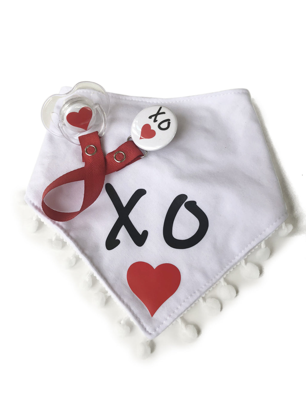 XO♥ Red love black white Bib & Matching Pacifier Clip Plus heart Pacifier Gift Set girl boy