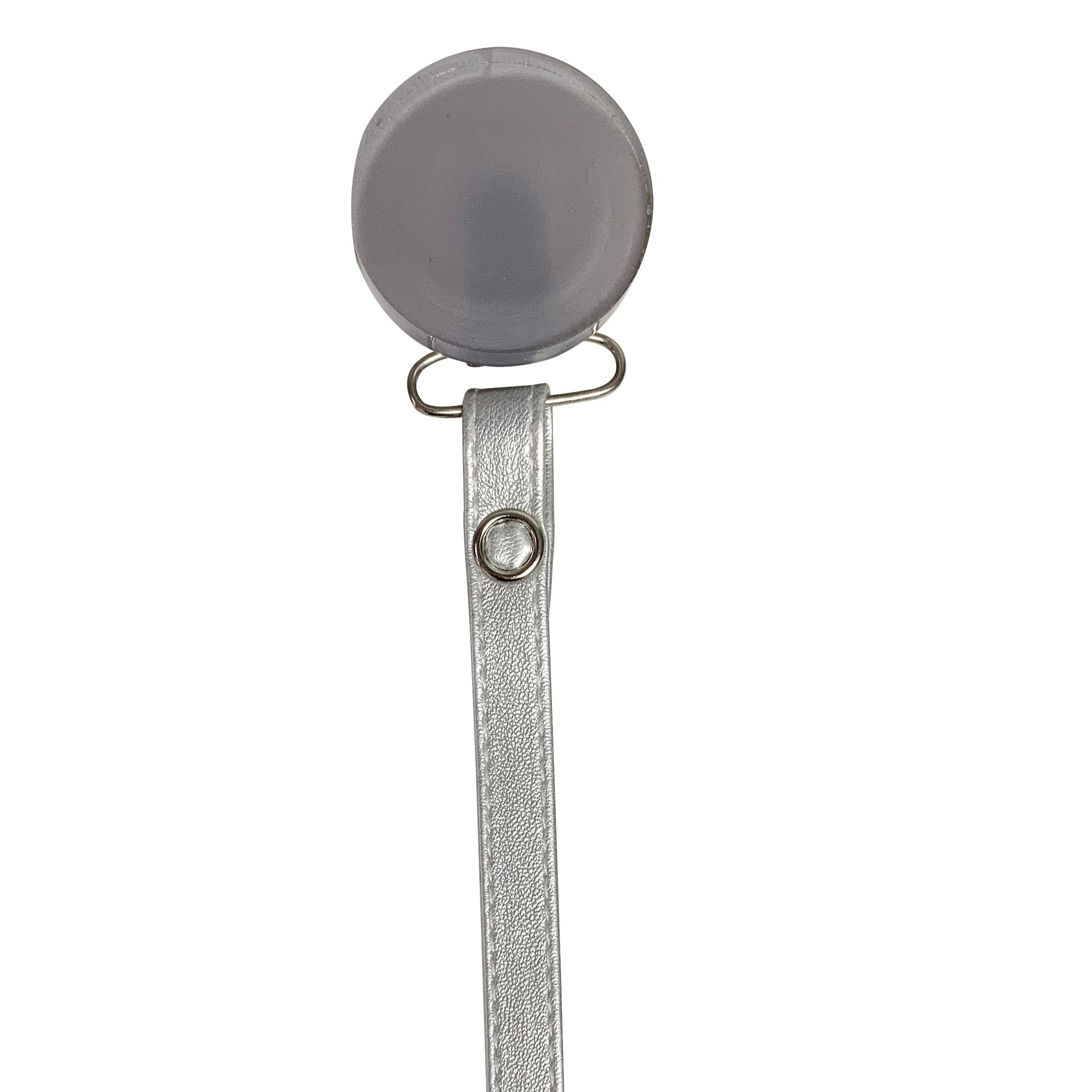 Classy Paci Sleek Grey Round clip with Bibs silver pacifier GIFT SET
