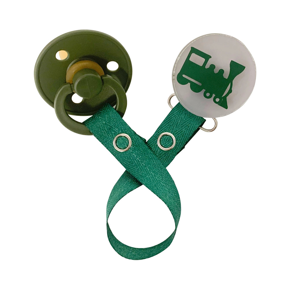 Classy Paci Vivid Green Train  clip with Bibs pacifier GIFT SET