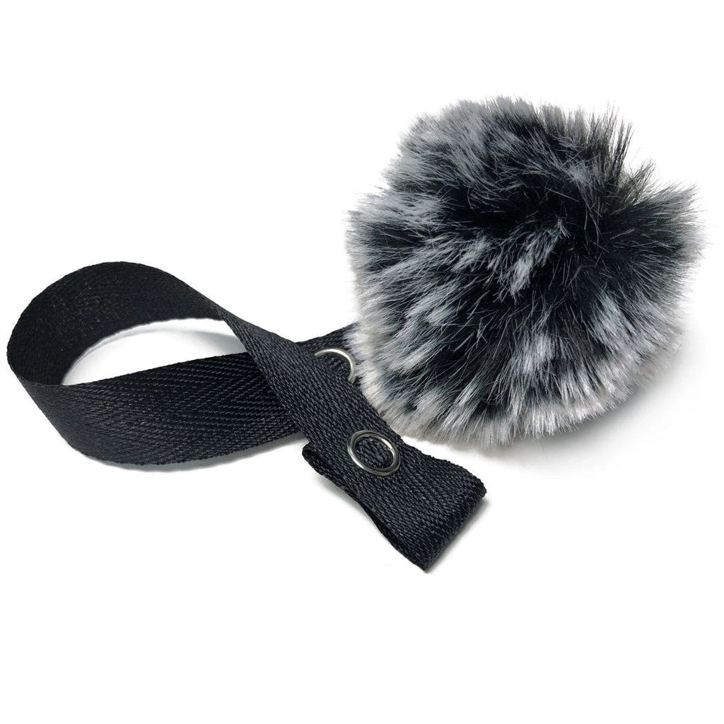 Mini Black Snow Fur Pom Pom