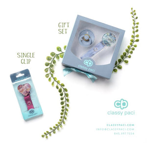 "Classy Paci fun ""cute as a button"" Aqua car, denim/black for baby toddler girls boys pacifier clip"