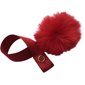 Mini Red Fur Pom Pom