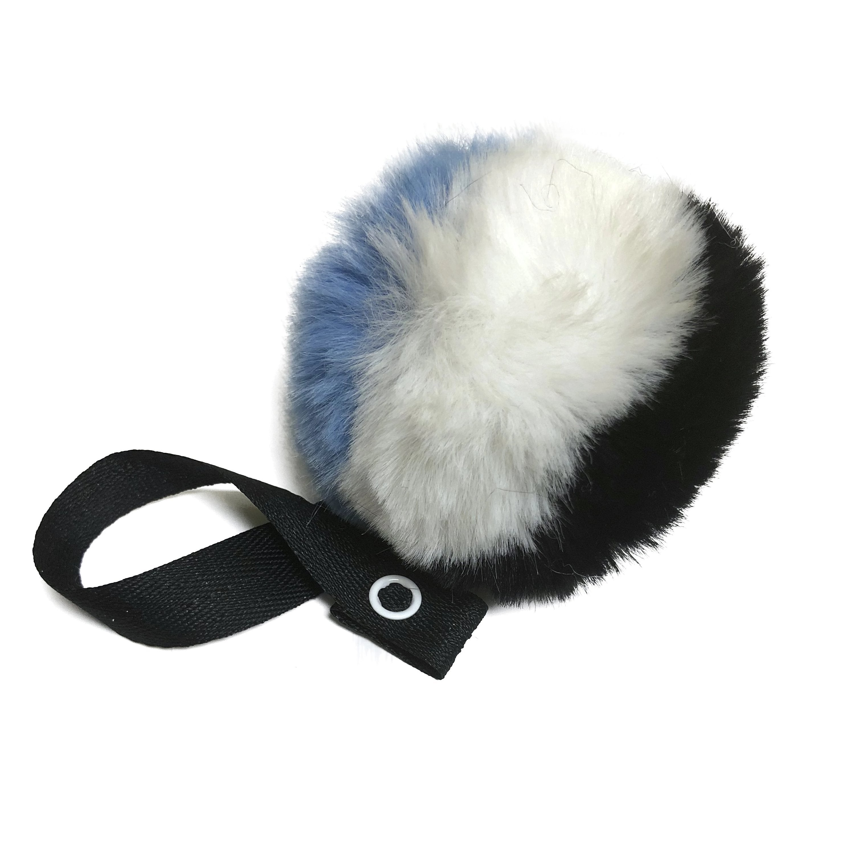 Tri Color Blue, Black &White  Fur Pom Pom