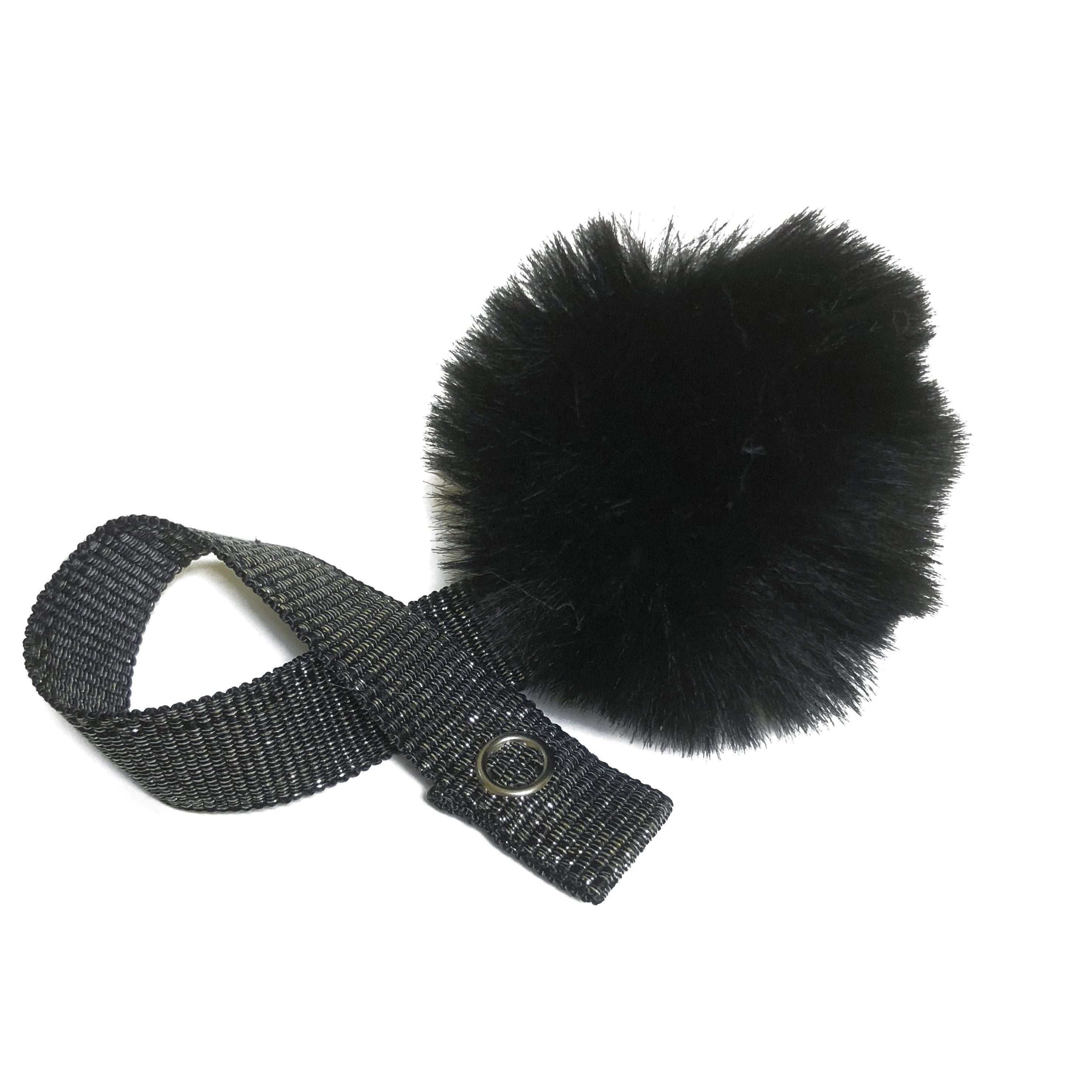 Mini Black Fur Pom Pom