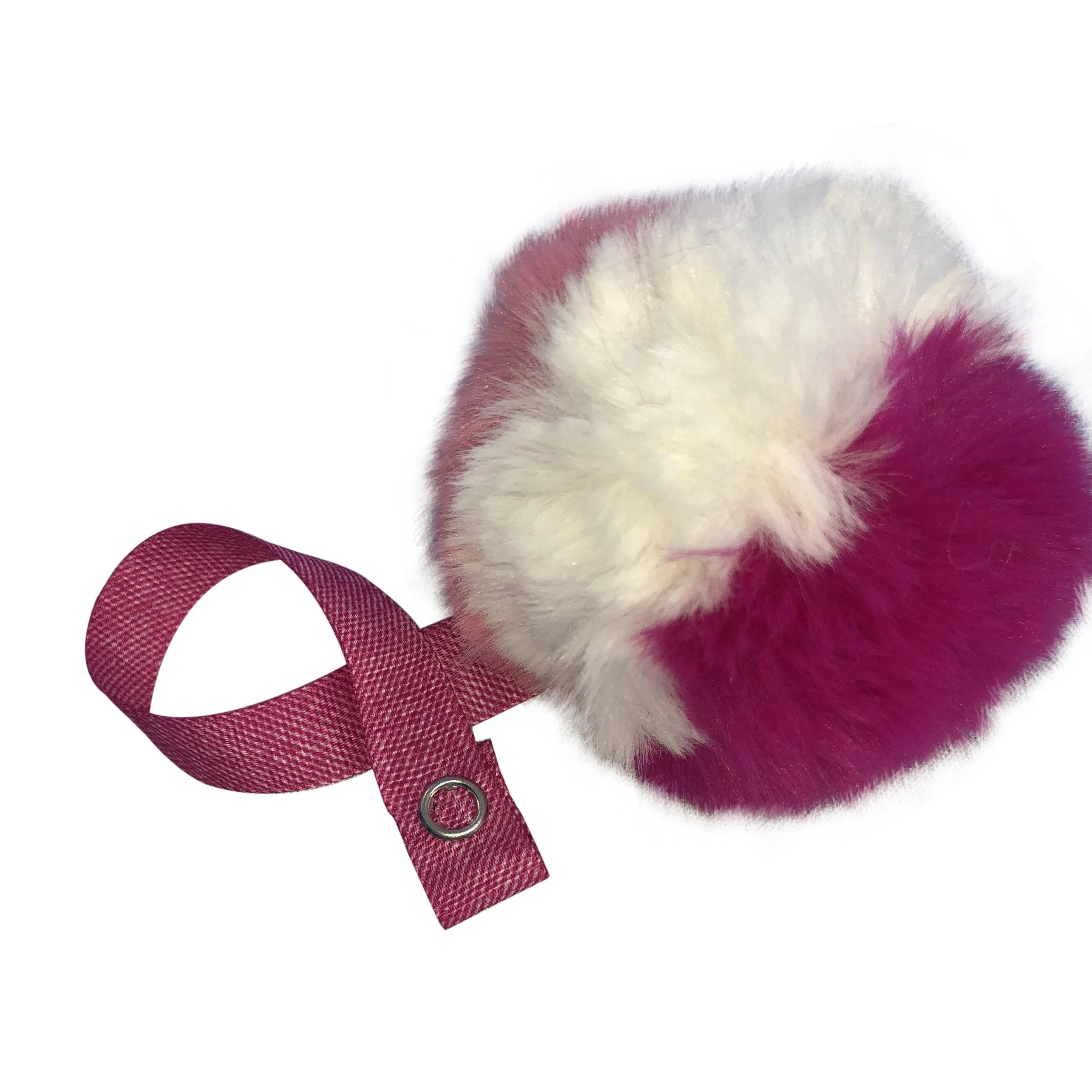Tri Color Fushia, Pink & White Fur Pom Pom
