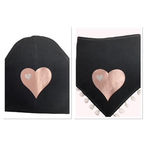 Black SLEEK  mauve pink  heart bib hat and clip DELUXE GIFT SET