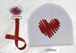 White with Red Doodle heart bib or hat and clip GIFT SET