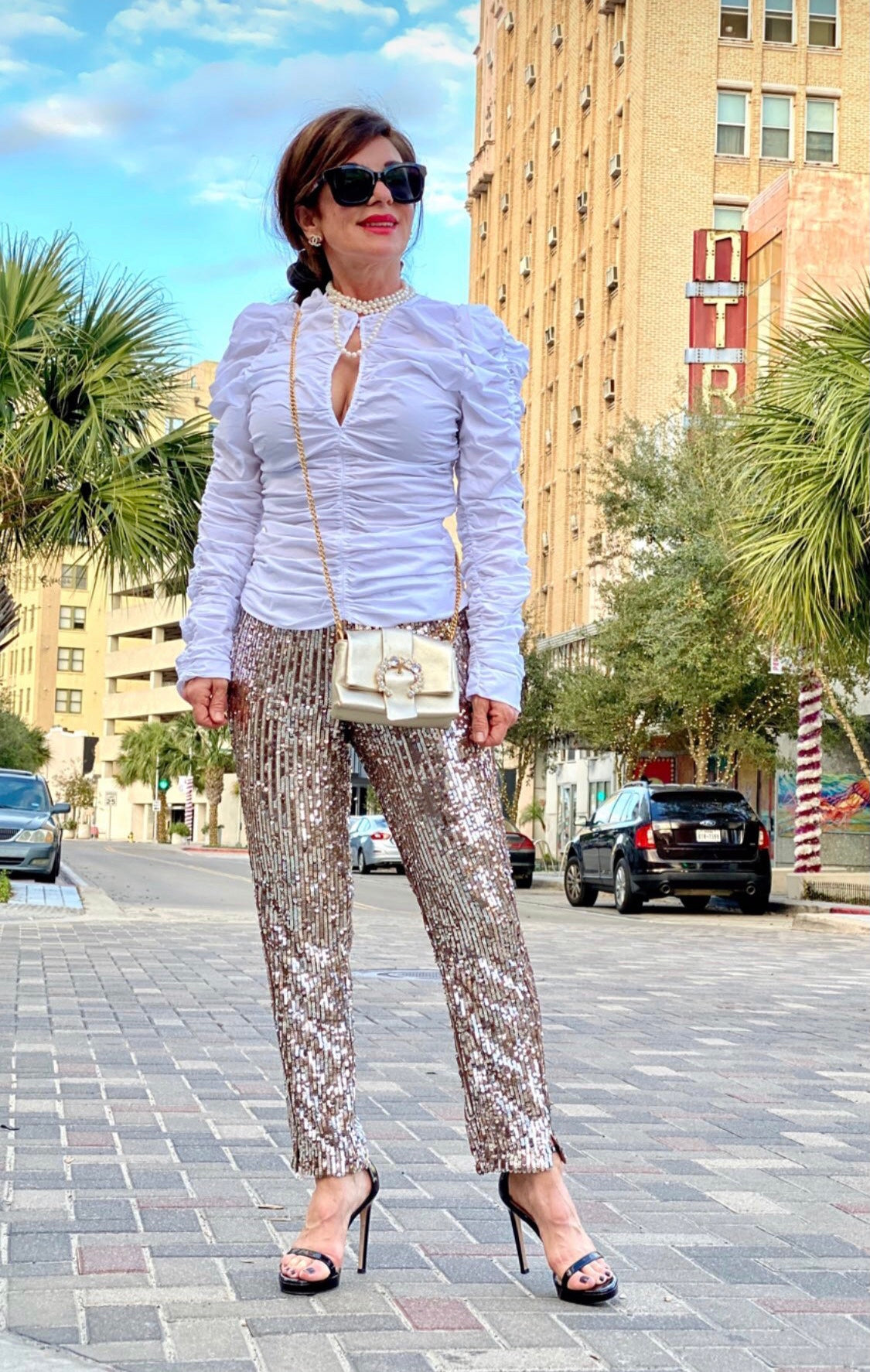 Brigitte Marie Foret in Zara White Rouched Blouse and Sequin Pants
