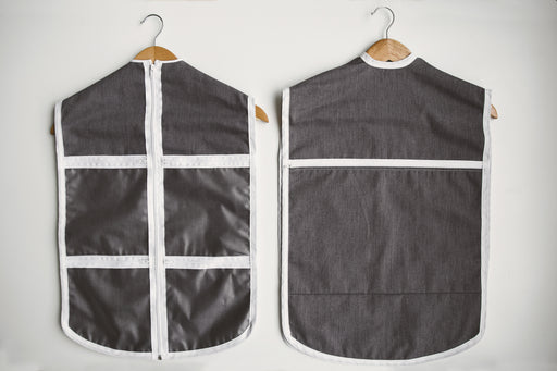Front and back of The Hanger Valet - a closet organizational tool to keep accessories and undergarments with an outfit.