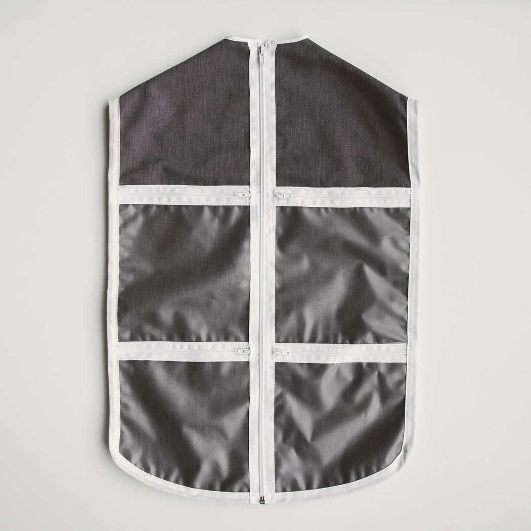 Four clear zippered pockets on the front of The Hanger Valet keep accessories, jewelry and undergarments in site and organized with an outfit.