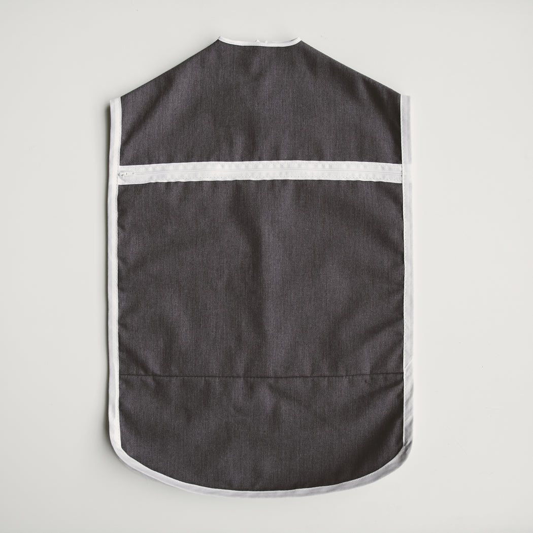 A large, deep pocket on the back of The Hanger Valet for storing undergarments or items not easily hung on a hanger.