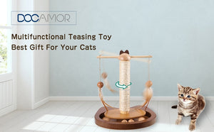 Multifunctional Teasing Cat Toy Durable 360° Rotating Rod With Feather Wooden Balls Cat Scratching Sisal Post Pet Toys
