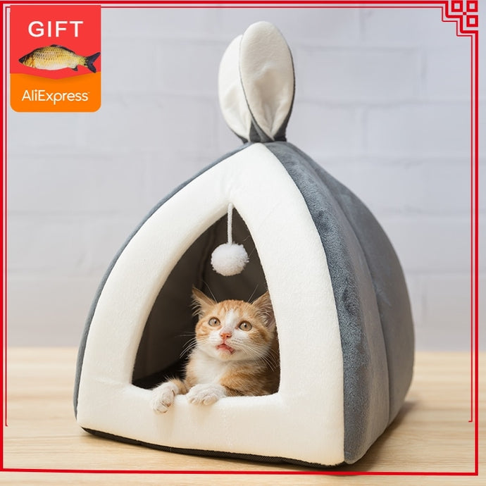 Hot sell Pet Cat Bed Indoor Kitten House Warm Small for cats Dogs Nest Collapsible Cat Cave Cute Sleeping Mats Winter Products