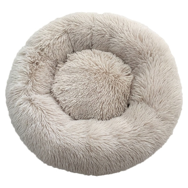Long Plush Super Soft Pet Cat Bed Kennel Dog Round Cat Winter Warm Sleeping Bag Puppy Cushion Mat Portable Cat Supplies