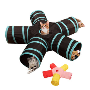 Foldable Pet Cat Tunnel Toys 2/3/4/5 Holes Pet Cat Training Toy Interactive Tube Fun Toy For Cat Rabbit Animal Play Tunnel Tube