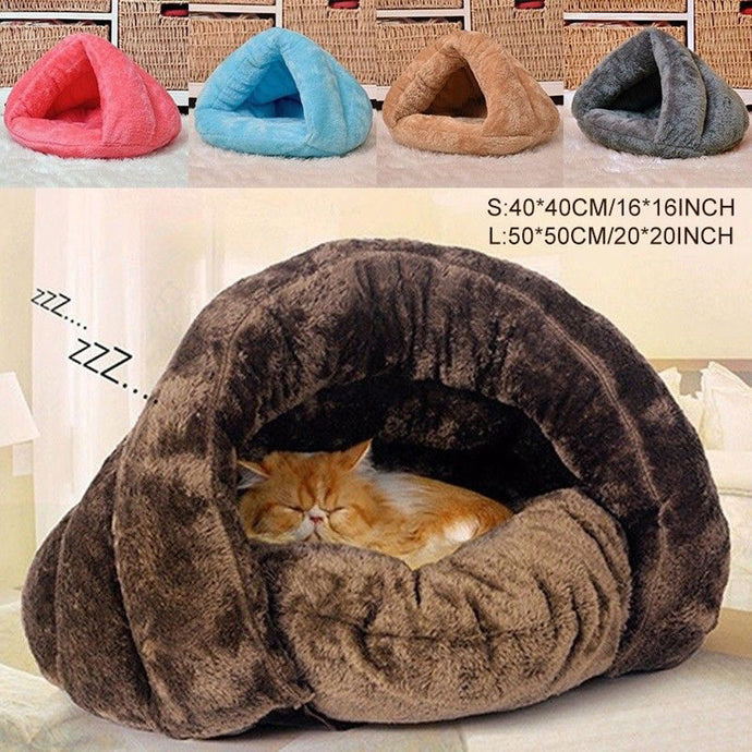 2 Size Puppy Pet Cat Dog Soft Warm Nest Kennel Bed Cave House Sleeping Bag Mat Pad Tent S L 5 Colors Pets Winter Warm Cozy Beds