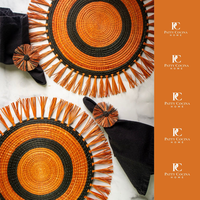 Iraca Black Circle Placemat Set