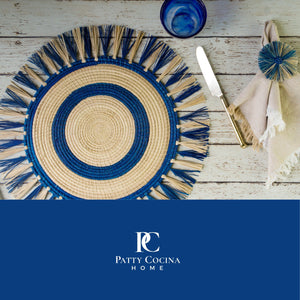 Iraca Blue Circle Placemat Set