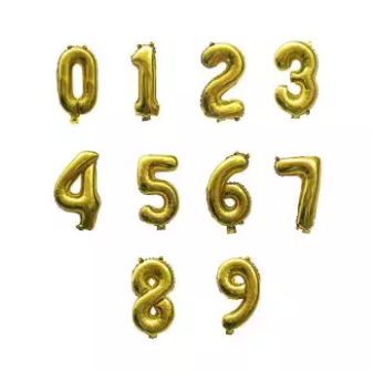 32 inches Number Golden Color Foil Balloon for Birthday Anniversary Party Decoration (4625676927061)