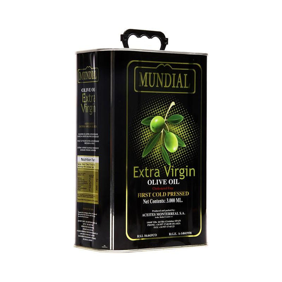 Mundial Extra Virgin Olive Oil Tin Zaitoon Ka Tail 3Ltr