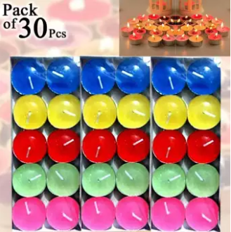 Pack of 30 Pcs Tea light multicoloured romantic floating water multicolor candles (4624231497813)