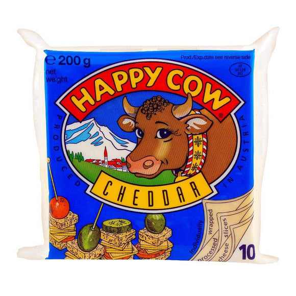 Happy Cow Cheddar Slice 10 Pack 200g