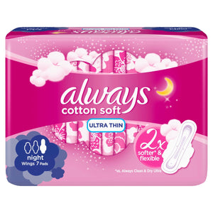 Always cotton Soft Ultra Thin 2x Softer & Flexible 7 Pads