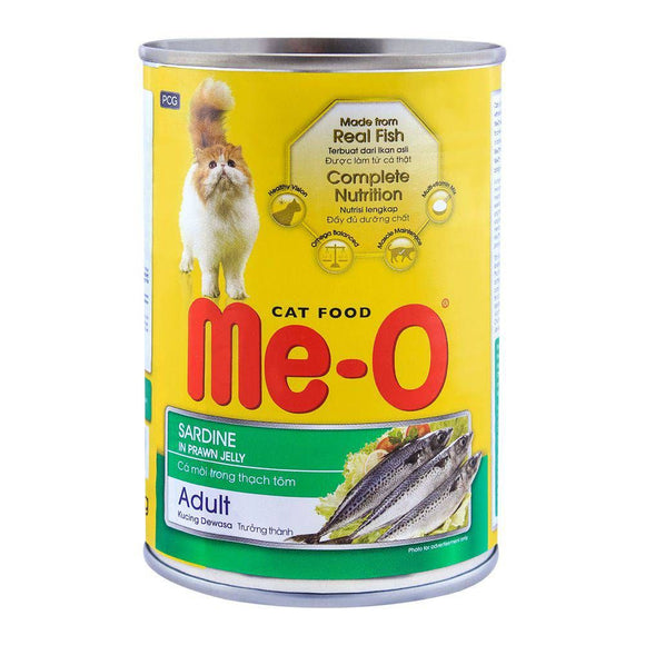Me-O Adult Sardines In Prawn Jelly Cat Food, Tin, 400g (4634325057621)
