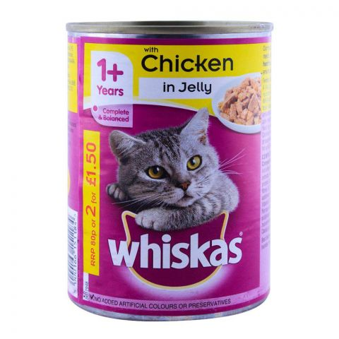 Whiskas 1+ Years Chicken In Jelly Cat Food 390g